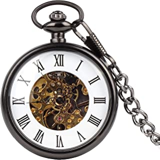 Mens Vintage Roman Numerals Dial Pocket Watch Steampunk Coverless semi-Automatic Pocket Watch