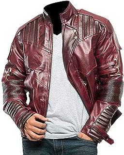 KAAZEE Men's Maroon Chris Biker Style Pratt Hi-Quality Guardians Faux Leather Galaxy Jacket