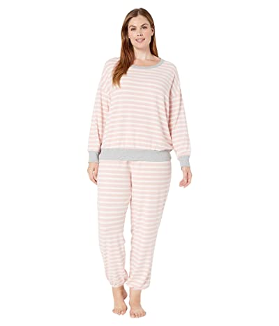 Splendid Plus Size Brushed Jersey Long Sleeve PJ Set (Blush Weekend Stripes) Women