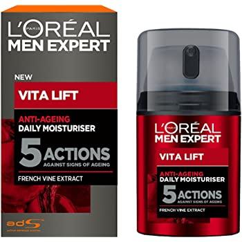 L'Oreal Men's Expert Vita Lift - Hidratante diario antienvejecimiento, 1.7fl oz, 5ACCIONES, 1.7 Onzas