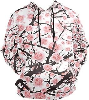 Men's Hoodies Sweatshirt Flower Sakura Tree Cherry Blossom Long Sleeve Pullovers
