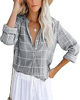 Cassiecy Damen Bluse Langarm Elegant Oberteil V-Ausschnitt Casual Tops Lose Langarmshirt Vintage Tunika Shirts