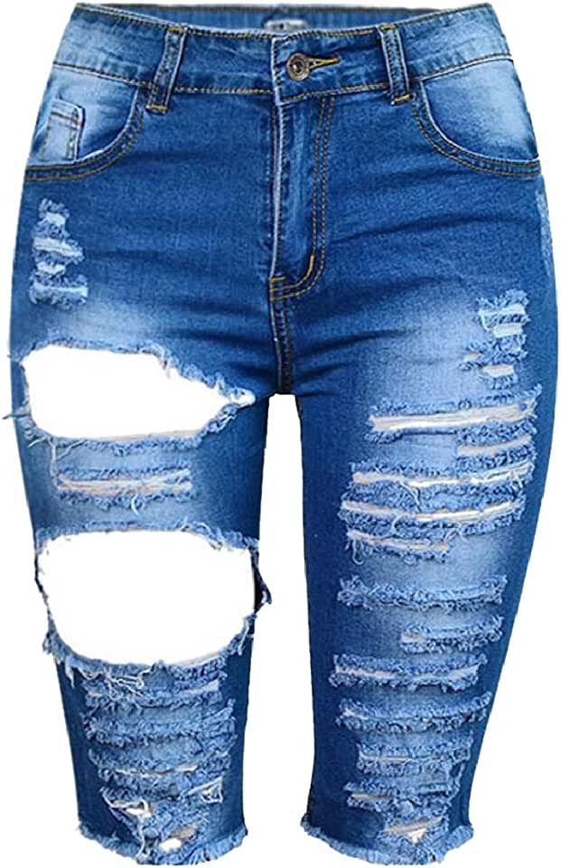 YY-qianqian Womens Sexy Summer Washed Hole Destroyed Denim Shorts Jeans