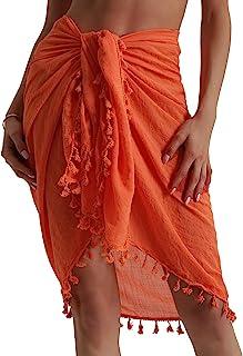 6511411ee Eicolorte Beach Sarong Pareo Womens Linen Cotton Swimwear Cover Ups Short  Skirt with Tassels