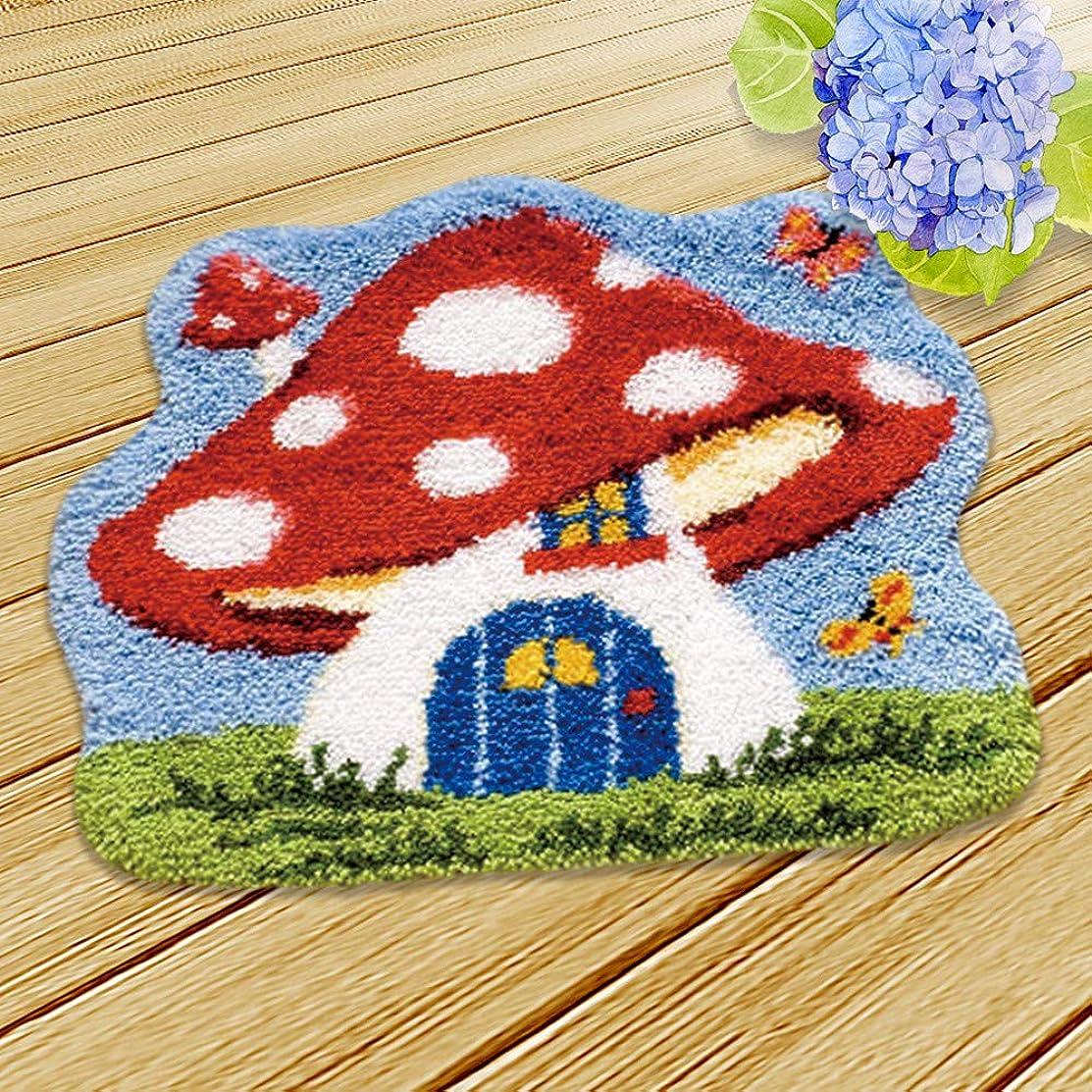 Ylkgogo DIY Crochet Yarn Kits,Needlework Latch Hook Kit Unfinished Crocheting Rug Yarn Cushion Embroidery Carpet Set (Mushroom,19.5