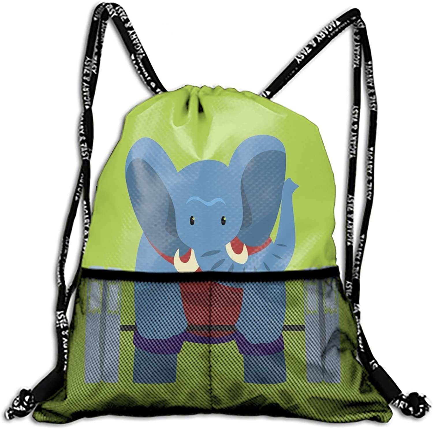 Drawstring Backpack Elephant Exercising with A Barbell Sportive Sports Gym String Bag Cinch Sack Gymsack Sackpack Waterproof