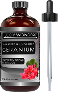 Body Wonders Geranium Essential Oil - 4 Oz Bottle - 100% Pure Therapeutic Grade Great for Aromatherapy & Diffusers