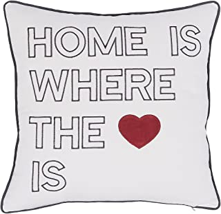 Pillow Covers by ADECOR - Home is where the love is - embroidered decorative pillowcase for Home decor 18X18 Off-white