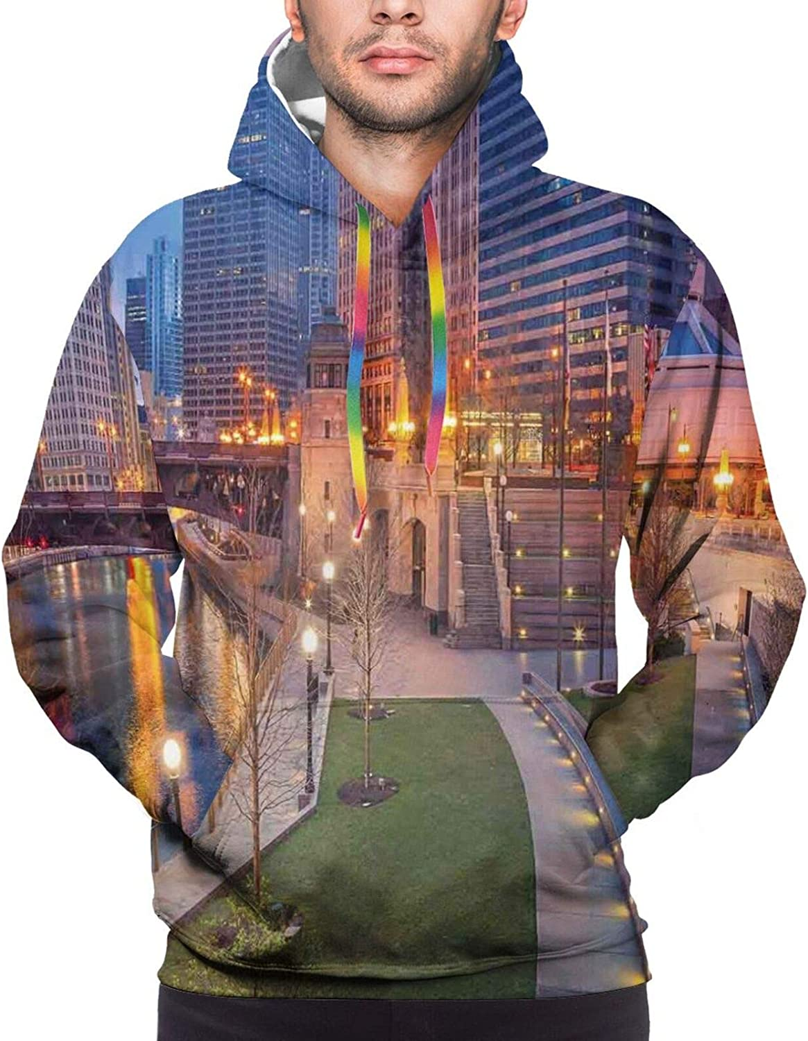 Men's Hoodies Sweatshirts,Cityscape of Lisbon Portugal Traditional Seaside City Colorful Sky Sunset Evening View