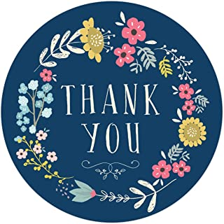 Andaz Press Stylish Bulk Thank You Round Circle Label Stickers, 2-inch, Olivia Blue Floral Flowers Wreath on Navy Blue, 8...