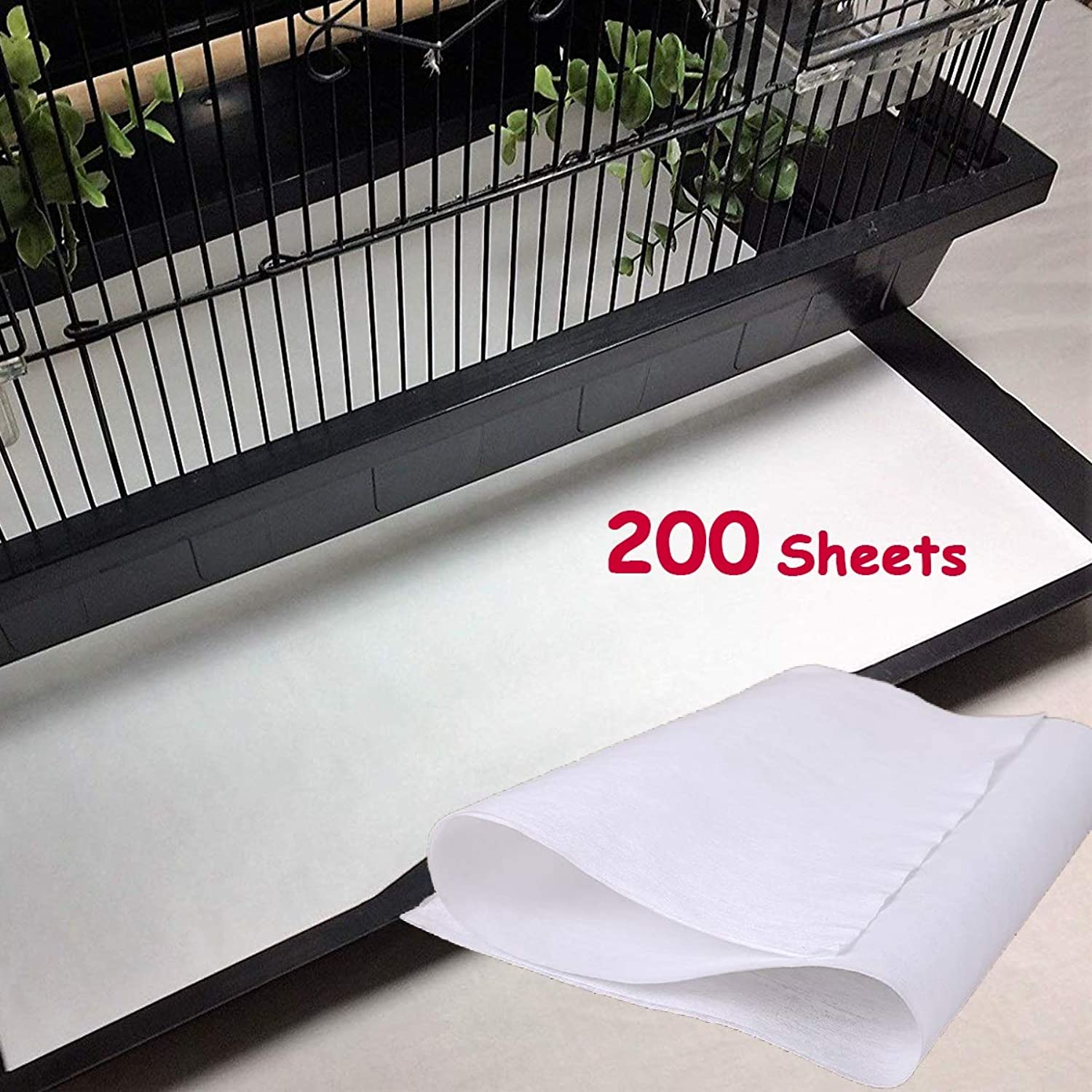 Bonaweite Disposable NonWoven Bird Cage Liners Papers, Parred Pet Cages Cushion Pad Mat Accessories, Square200 Sheets