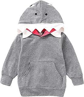 Xifamniy Newborn Boys Spring&Autumn Coat Cartoon Shark Shape Design Hooded Daily Outfit