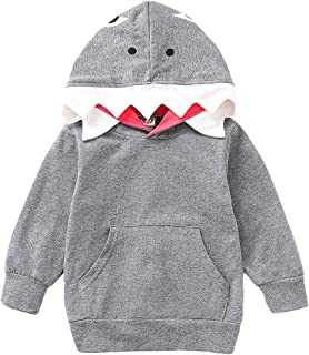 Xifamniy Newborn Boys Spring&Autumn Coat Cartoon Shark Shape Design Hooded Daily Outfit