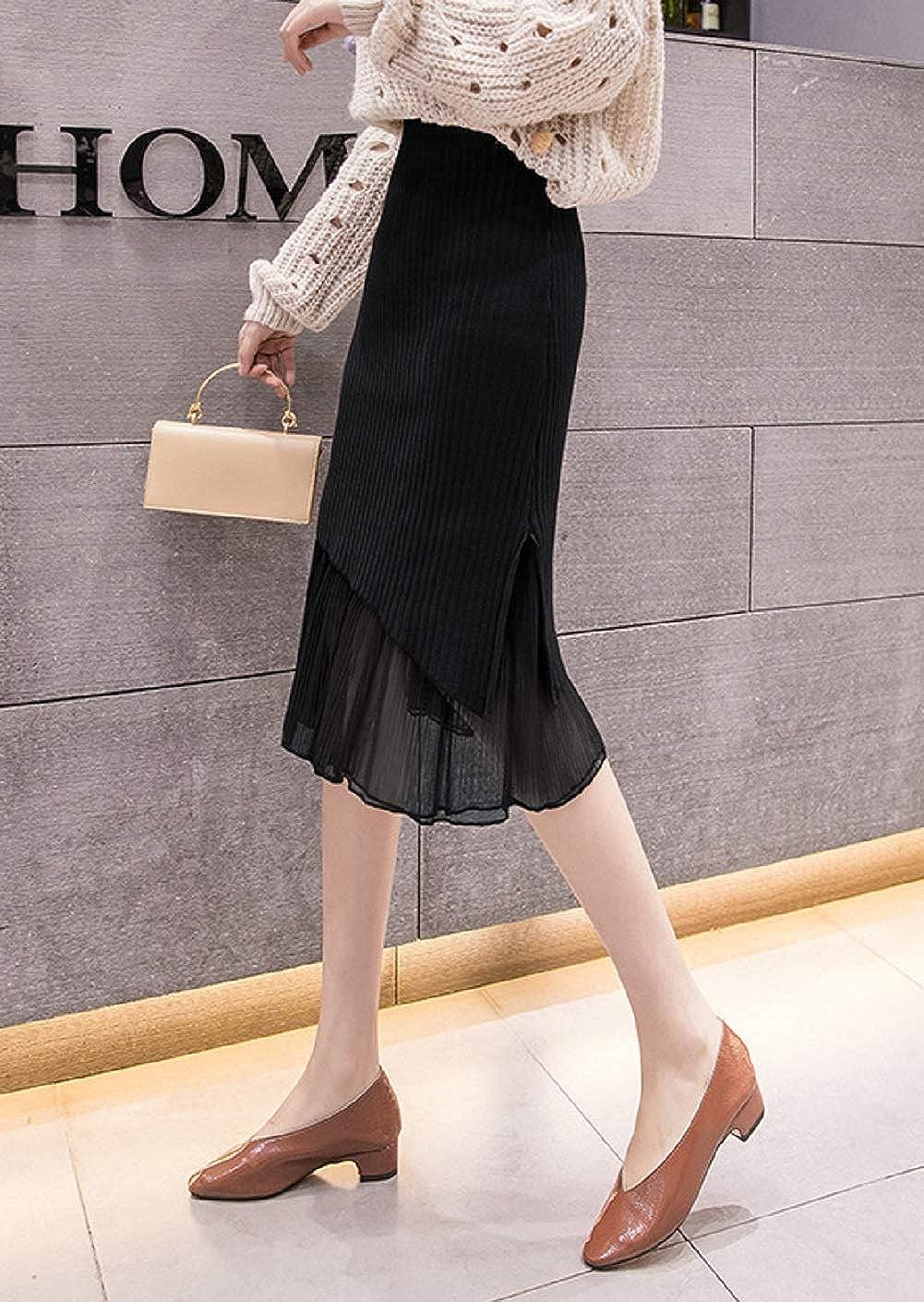 CHARTOU Women's High Waist Package Hip Flounce Mesh Knitted Midi Pencil Skirt