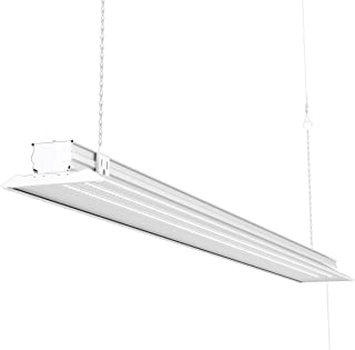 Sunco Lighting Flat LED Shop Light, 4 FT, Linkable Single Integrated LED, 40W=300W, 5000K Daylight, 4500 LM, Clear Lens, Plug in, Suspension Mount, Pull Chain, Garage - ETL + Energy Star