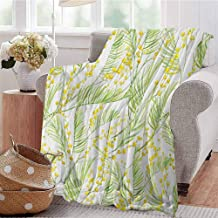 Luoiaax Yellow Flower Comfortable Large Blanket Delicate Spring Mimosa Pattern Drawing Style Rustic Countryside Flora Microfiber Blanket Bed Sofa or Travel W70 x L70 Inch Yellow Pale Green