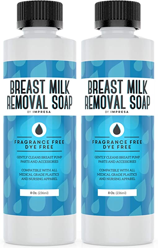 2 Pack Of 8 Oz Breast Milk Removal Soap Clean Your Pump Parts Bottles Nipples And Nursing Apparel Quick 16 Total Ounces Fragrance Free Dye Free Made In The USA By IMPRESA