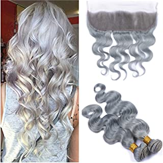 Tony Beauty Hair Silver Gray Human Hair Virgin Brazilian Hair Weaves 2 Bundles with Full Lace Frontal Body Wave Colored Grey Human Hair Bundle Deals with Lace Frontal 13x4 (10 10+8)