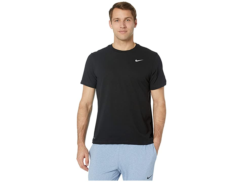Nike Dry Tee Dri-FITtm Cotton Crew Solid (Black/White) Men