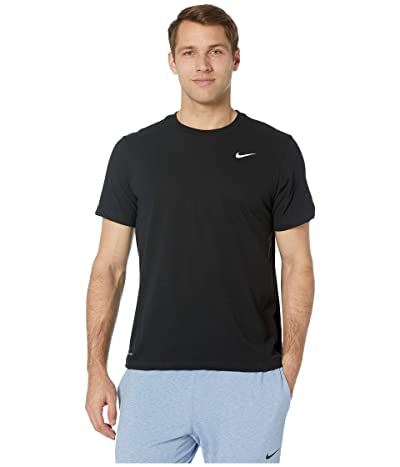Nike Dry Tee Dri-FITtm Cotton Crew Solid (Black/White) Men