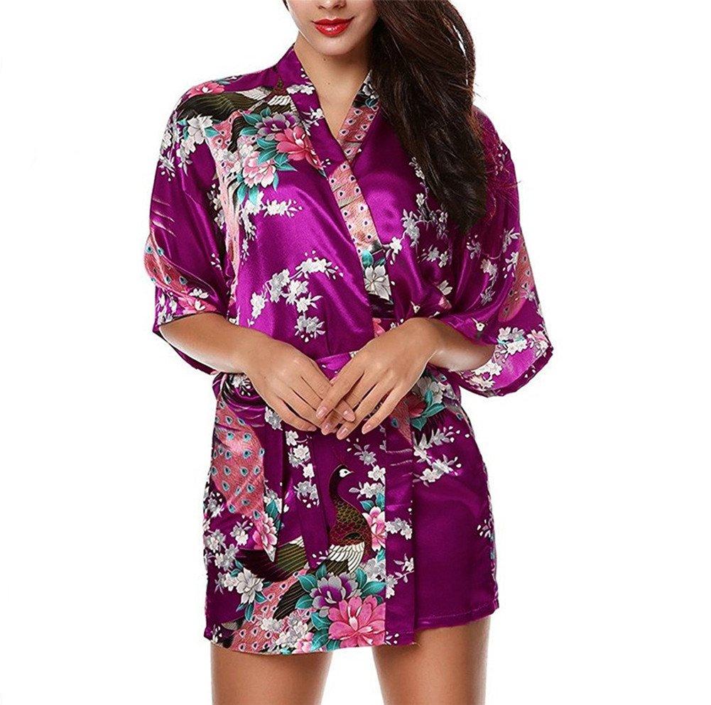 Hippolo Mujer Verano Pijama Pavo Real Corto Vestido Boda Noche Camisa de Noche Camisa Pavo Real Camisa Morado, Rojo Extra-Large: Amazon.es: Productos para mascotas