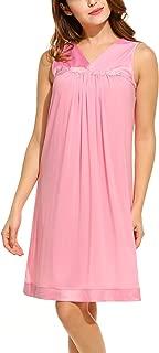 Women's Nightgown Silk Nightwear Loose Sleeveless Sleepwear S-XL