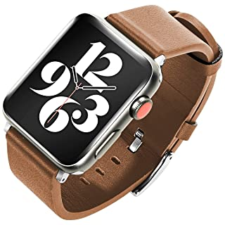MOCOLL Compatible with Apple iWatch Band Strap Genuine Leather Replacement Wristband 42mm 44mm Compatible for iWatch Series 6 5 4 3 2 1 SE Women Men Brown