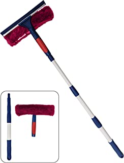 Professional Window Cleaner Squeegee with Extension Pole Up to 3 Ft Long | 2-in-1 Squeegee and Scrubber Washer Tool | Window Washing Cleaning Kit for Indoor Outdoor, Glass, Car, Home (Pink)