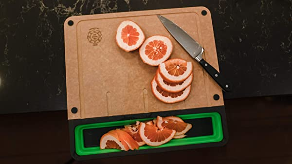 Cup Board Pro Mess Free Sustainable Cutting Board With Cup Tray As Seen On Shark Tank