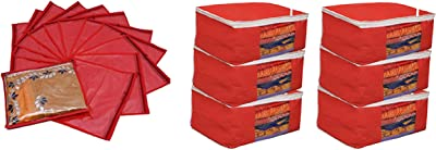 Kuber Industries™ Saree Cover Combo 6 Pcs Set and Single Packing Saree Cover 12 Pcs Set (Red)