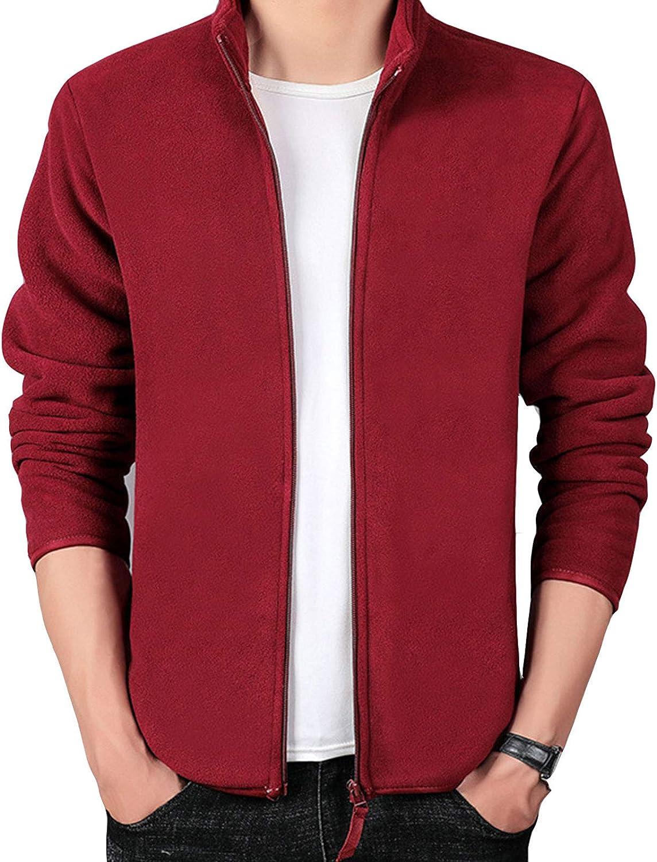 DUTUI Fall and Winter Jacket Men's Loose Outdoor Leisure Sports Jacket, Fleece Jacket Men and Women Thickened Plus Fleece Fleece Sweater,Red,3XL