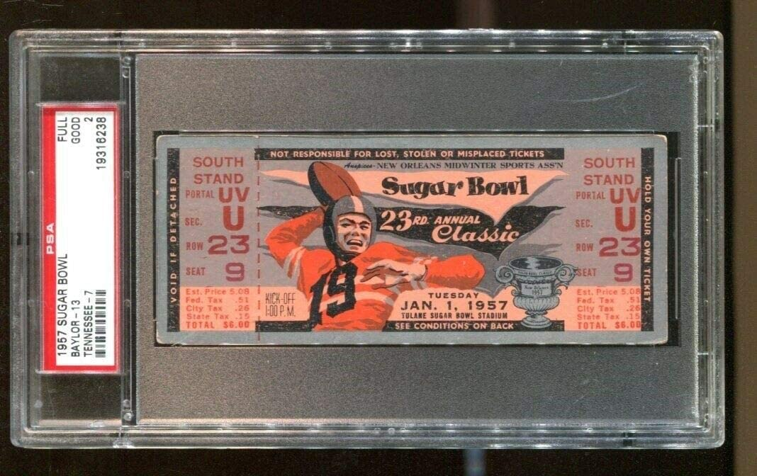 1957 Sugar Bowl Popular overseas Full Ticket Baylor Vols v PSA 6 Outlet ☆ Free Shipping Bears Tennessee