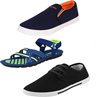 Bersache Men Combo Pack of 3 Loafers & Moccasins with Sandal & Casual Shoes