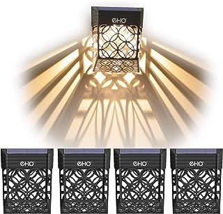 EHO Solar Deck Lights, Solar Fence Lights Outdoor Waterproof LED Garden Decorative Lighting for Post,Patio, Front Door, St...