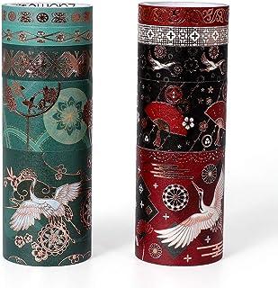 Molshine Set of 10 Foil Hot Stamping Washi Masking Tape Set,Sticky Paper Tape,Bronzing Crafts Tape for DIY,Bullet Diary De...
