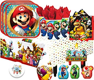 Super Mario Bros Children's Deluxe Birthday Party Tableware Pack for 16 Guests with Mario Plates, Browser Napkins, Mario and Luigi Cups, Plastic Tablecover, Birthday Candles and Exclusive Pin