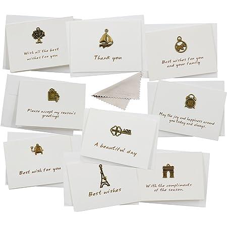 メッセージカード グリーティングカード 祝日 祝い カード 友達 への 挨拶 カード プレゼント付きのメッセージカード ノート カード はがき バラエティー・デザイン 金属制 Best Whises 封筒付き 2つ折り 裏空白カード ミニカード 9枚入り セット