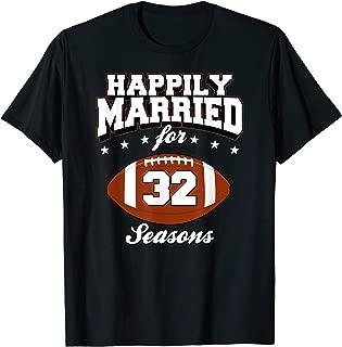 32 Years Wedding Anniversary T-Shirt Football Couple Gift