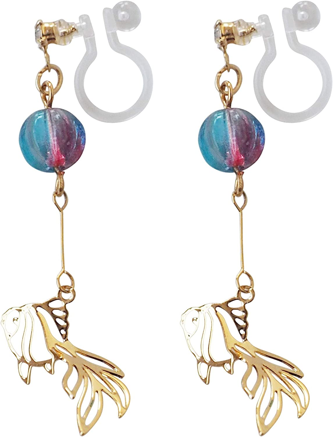 Pretty Goldfish Invisible Clip On Earrings Dangle for Women Blue Ball Non Pierced Comfortable Clip On Earrings Gold tone MiyabiGrace