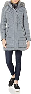Kenneth Cole New York Women's Quilted Puffer Jacket with Faux Fur Trimmed Hood