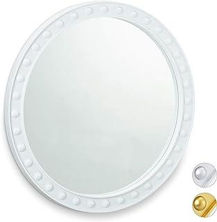 Relaxdays, Blanco Espejo Decorativo de Pared, Redondo, Colgante, ∅50,5 cm, PP, Vidrio, cartón, 50,5 x 50,5 x 2,5 cm