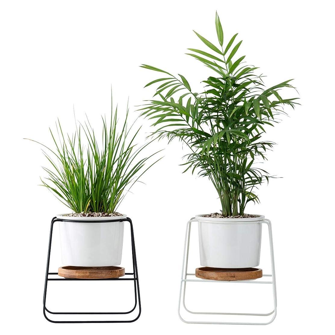 川靴階段WBFN セラミックフラワーポット、パレット/トレイ、腐食、耐強く、変形しやすく、耐久性ではない、ホームデコレーションとオフィスハウスデスク用2つの小型プラントポット屋内植木鉢 (Color : A)