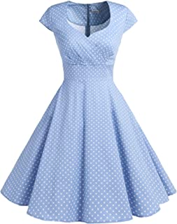 Bbonlinedress Women's Vintage 1950s cap Sleeve Rockabilly Cocktail Dress Multi-Colored