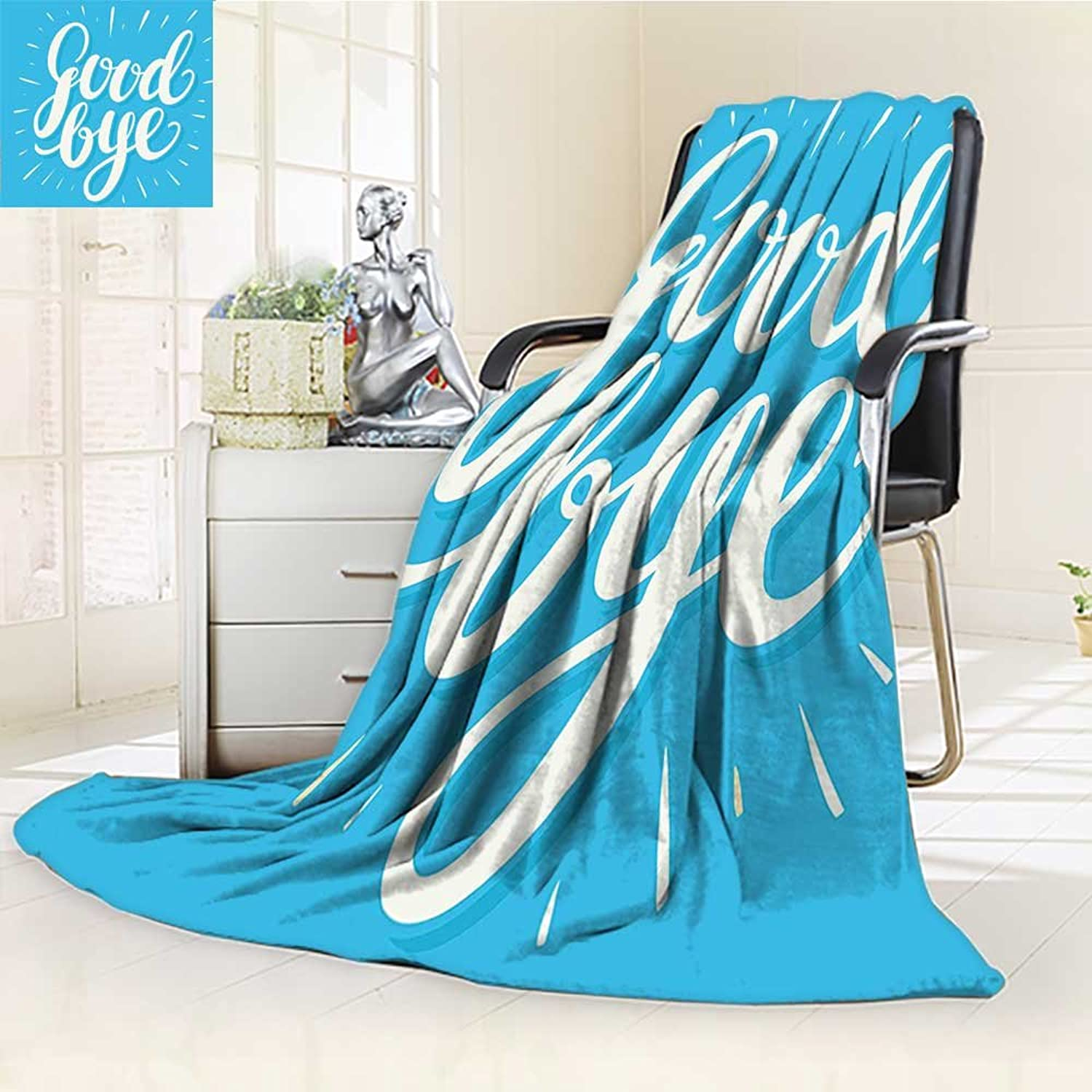 AmaPark Digital Printing Blanket BHand Lettering on bluee Background Wishful Words bluee White Summer Quilt Comforter