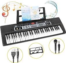 【2020年進化版】SANMERSEN 電子キーボード 61鍵盤 卓上ピアノ USB給電式・電池給電式 楽器キーボード LCDディスプレイ搭載 譜面立て ヘッドホン利用可能 携帯などのオーディオ機器と連続可能 CPC&CE認証取得済 マイク付き-ブラック「日本語取扱説明書付き」