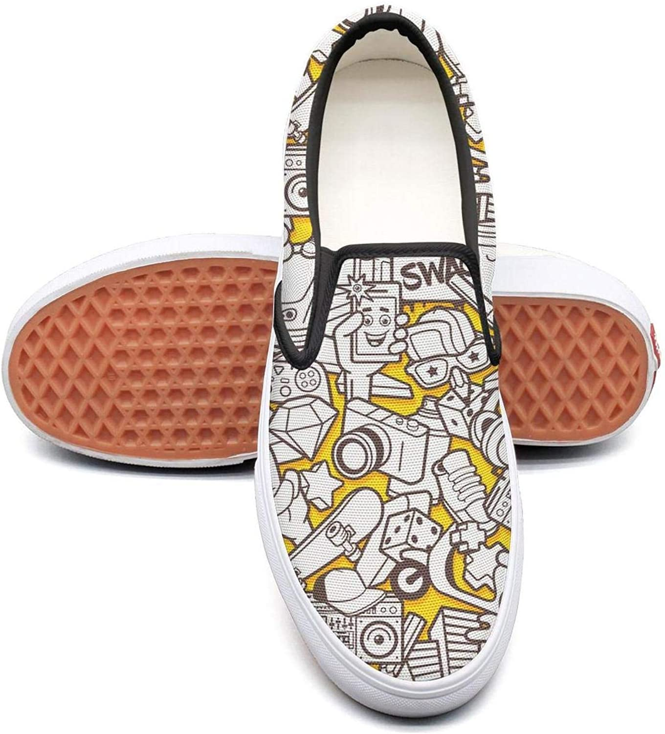 Yellow Diamond Cartoon Slip On Superior Comfort Sneakers Canvas shoes for Women Round Toe