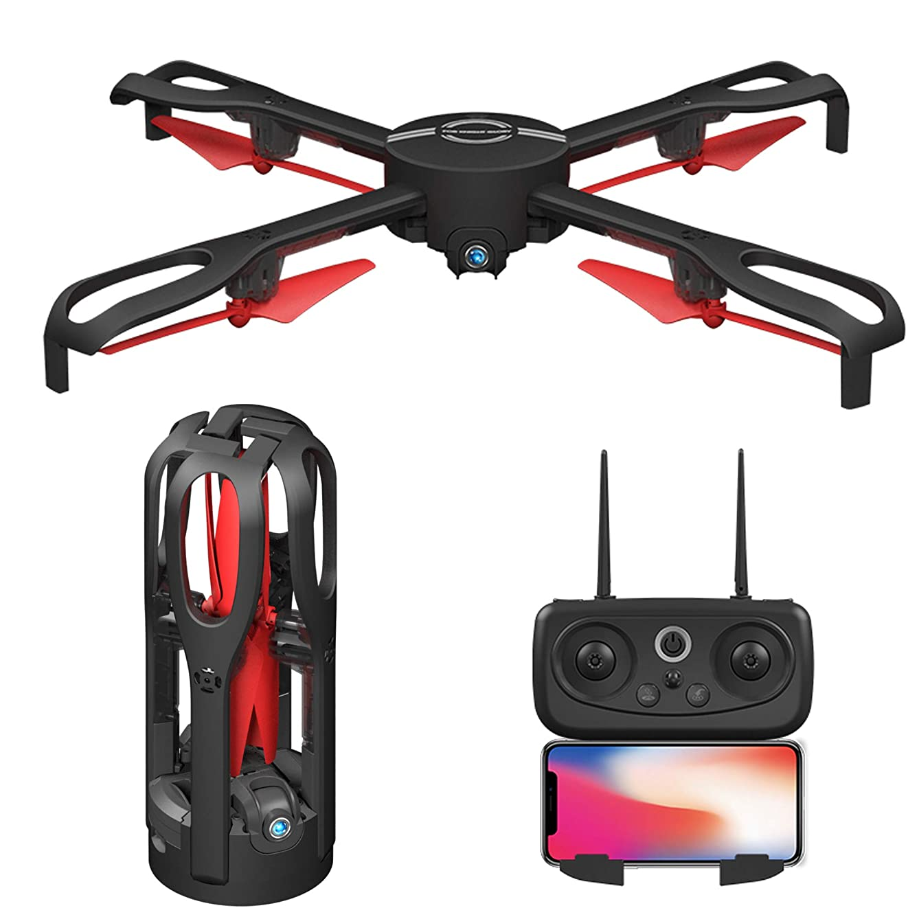 GPS Foldable RC Drone with Camera Live Video 1080P WiFi 5G FPV Quadcopters,Black 2.4GHz 4CH 6-Axis Gyro, Gravity Sensing, Headless Mode, Follow Me