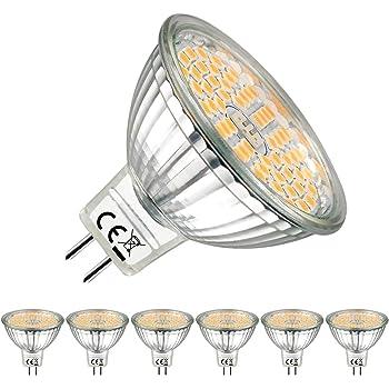 EACLL Bombillas LED GU5.3 2700K Blanco Cálido Sin Parpadeo MR16 12V 5W 500 Lúmenes Equivalente 50W Halógena. 120 ° Luz Blanca Cálida Lámpara Reflectoras Spotlight, Pack de 6: Amazon.es: Iluminación