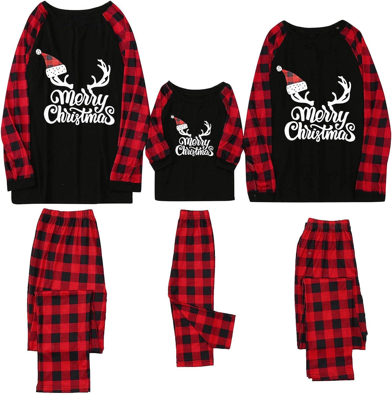 Goldweather Christmas Family Matching Pajamas Set Xmas Pjs Sleepwear Outfits Print Long Sleeve T Shirts Tops with Plaid Pants