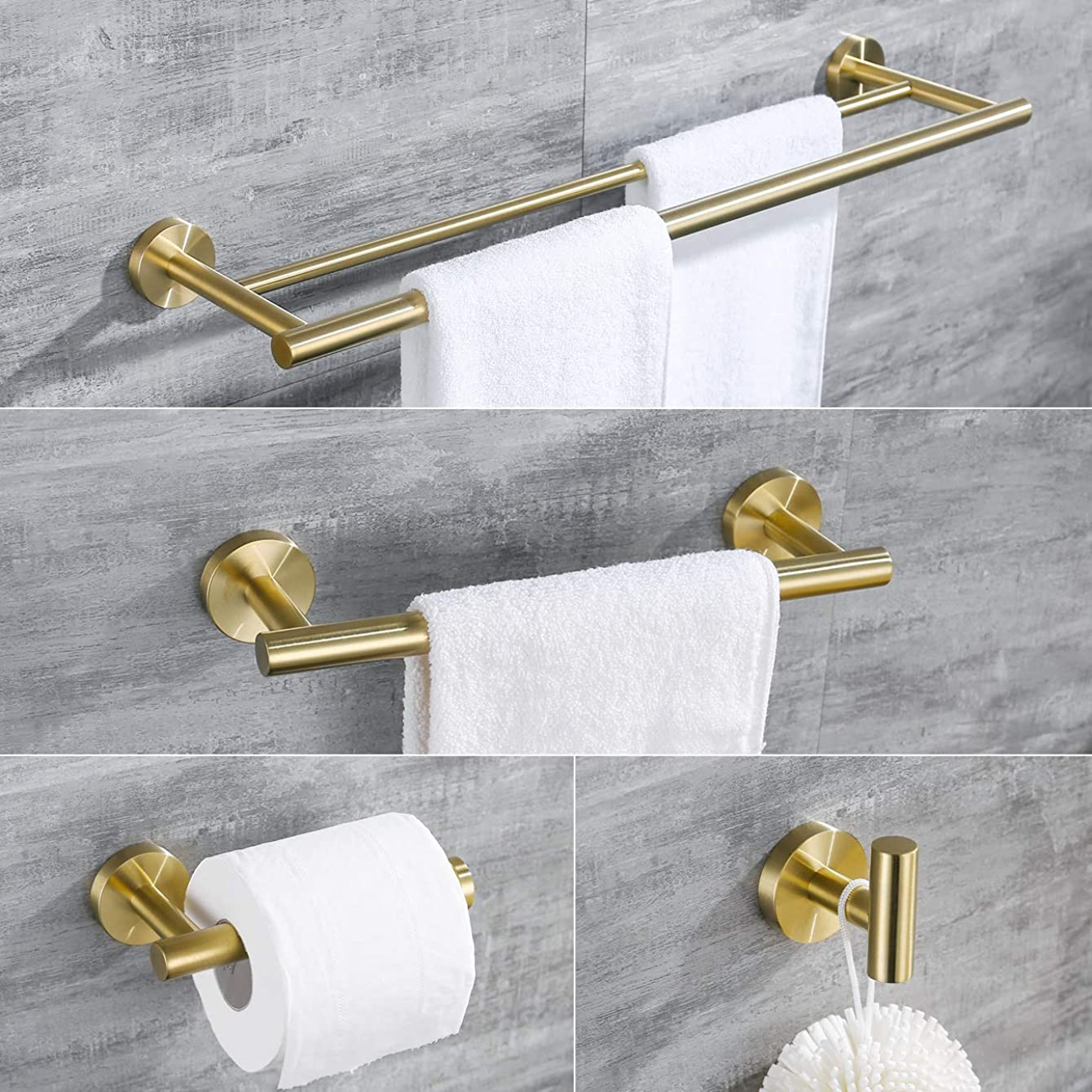 Hoooh 4-Piece Bathroom Accessories Set Stainless Steel Wall Mount Brushed Gold - Includes Double Towel Bar, Hand Towel Rack, Toilet Paper Holder, Robe Hooks, BS100S4-BG kpynsulixsypb57